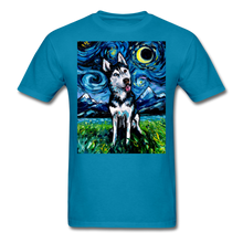 Load image into Gallery viewer, Happy Husky Night Unisex Classic T-Shirt - turquoise