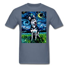 Load image into Gallery viewer, Happy Husky Night Unisex Classic T-Shirt - denim