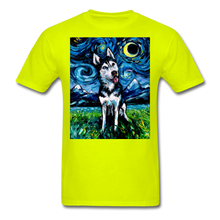Load image into Gallery viewer, Happy Husky Night Unisex Classic T-Shirt - safety green