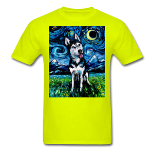 Happy Husky Night Unisex Classic T-Shirt - safety green