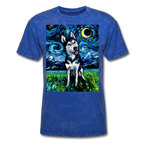 Happy Husky Night Unisex Classic T-Shirt - mineral royal