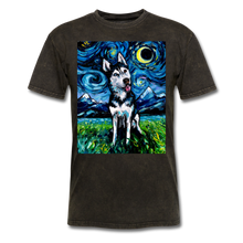 Load image into Gallery viewer, Happy Husky Night Unisex Classic T-Shirt - mineral black