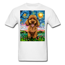 Load image into Gallery viewer, Apricot Poodle Night Unisex Classic T-Shirt - white