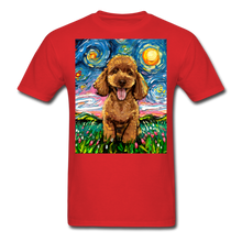 Load image into Gallery viewer, Apricot Poodle Night Unisex Classic T-Shirt - red