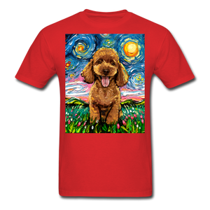 Apricot Poodle Night Unisex Classic T-Shirt - red