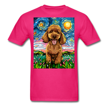 Load image into Gallery viewer, Apricot Poodle Night Unisex Classic T-Shirt - fuchsia