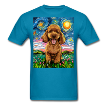 Load image into Gallery viewer, Apricot Poodle Night Unisex Classic T-Shirt - turquoise