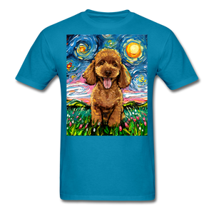 Apricot Poodle Night Unisex Classic T-Shirt - turquoise