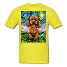 Load image into Gallery viewer, Apricot Poodle Night Unisex Classic T-Shirt - yellow