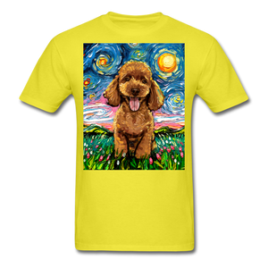 Apricot Poodle Night Unisex Classic T-Shirt - yellow