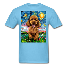 Load image into Gallery viewer, Apricot Poodle Night Unisex Classic T-Shirt - aquatic blue