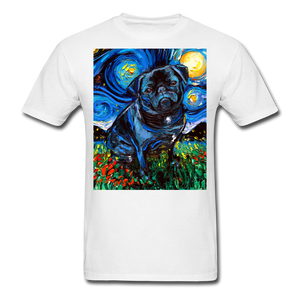 Black Pug Night Unisex Classic T-Shirt - white