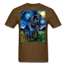 Load image into Gallery viewer, Black Pug Night Unisex Classic T-Shirt - brown