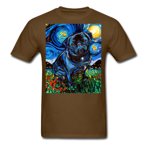 Black Pug Night Unisex Classic T-Shirt - brown