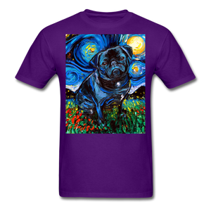 Black Pug Night Unisex Classic T-Shirt - purple