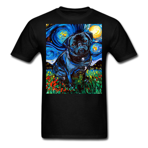 Black Pug Night Unisex Classic T-Shirt - black