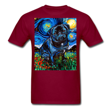 Load image into Gallery viewer, Black Pug Night Unisex Classic T-Shirt - burgundy