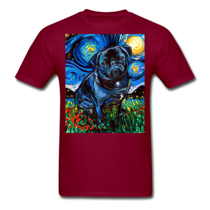 Black Pug Night Unisex Classic T-Shirt - burgundy