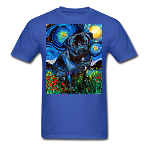 Black Pug Night Unisex Classic T-Shirt - royal blue