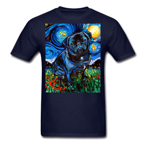 Black Pug Night Unisex Classic T-Shirt - navy