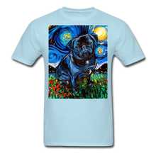 Load image into Gallery viewer, Black Pug Night Unisex Classic T-Shirt - powder blue