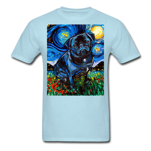 Black Pug Night Unisex Classic T-Shirt - powder blue