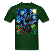 Load image into Gallery viewer, Black Pug Night Unisex Classic T-Shirt - forest green