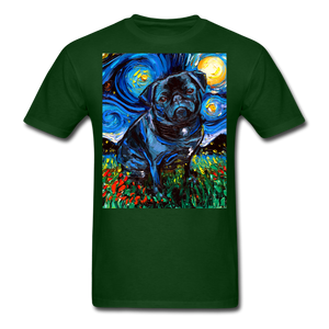 Black Pug Night Unisex Classic T-Shirt - forest green