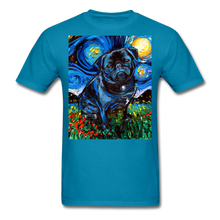Load image into Gallery viewer, Black Pug Night Unisex Classic T-Shirt - turquoise