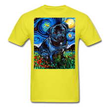 Load image into Gallery viewer, Black Pug Night Unisex Classic T-Shirt - yellow