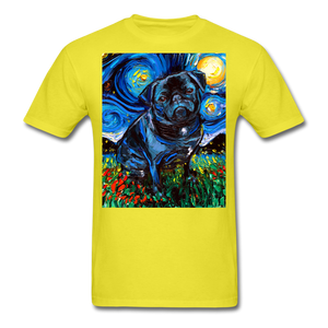 Black Pug Night Unisex Classic T-Shirt - yellow