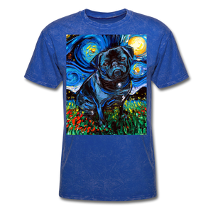 Black Pug Night Unisex Classic T-Shirt - mineral royal