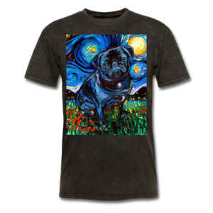 Black Pug Night Unisex Classic T-Shirt - mineral black