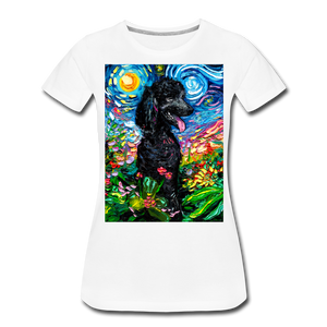 Black Poodle Night 2 Women's Premium T-Shirt - white