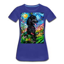Load image into Gallery viewer, Black Poodle Night 2 Women's Premium T-Shirt - royal blue