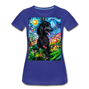 Black Poodle Night 2 Women's Premium T-Shirt - royal blue