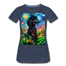 Load image into Gallery viewer, Black Poodle Night 2 Women's Premium T-Shirt - navy