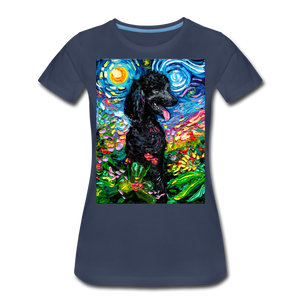 Black Poodle Night 2 Women's Premium T-Shirt - navy