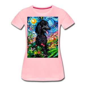 Black Poodle Night 2 Women's Premium T-Shirt - pink