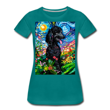 Load image into Gallery viewer, Black Poodle Night 2 Women's Premium T-Shirt - teal