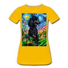 Load image into Gallery viewer, Black Poodle Night 2 Women's Premium T-Shirt - sun yellow