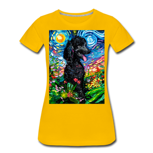 Black Poodle Night 2 Women's Premium T-Shirt - sun yellow