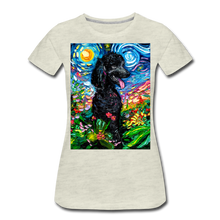 Load image into Gallery viewer, Black Poodle Night 2 Women's Premium T-Shirt - heather oatmeal