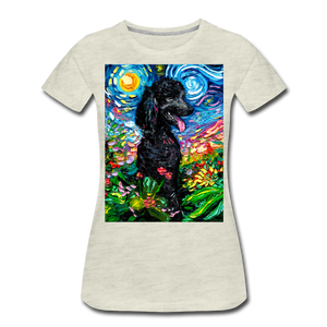 Black Poodle Night 2 Women's Premium T-Shirt - heather oatmeal