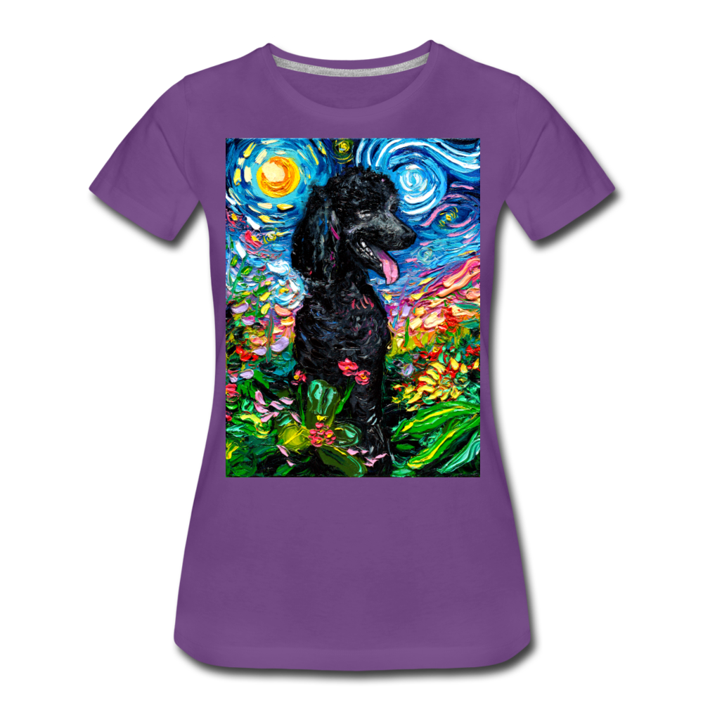 Black Poodle Night 2 Women's Premium T-Shirt - purple