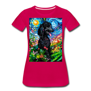 Black Poodle Night 2 Women's Premium T-Shirt - dark pink