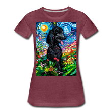 Load image into Gallery viewer, Black Poodle Night 2 Women's Premium T-Shirt - heather burgundy