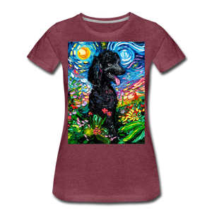 Black Poodle Night 2 Women's Premium T-Shirt - heather burgundy