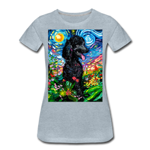 Load image into Gallery viewer, Black Poodle Night 2 Women's Premium T-Shirt - heather ice blue