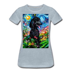 Black Poodle Night 2 Women's Premium T-Shirt - heather ice blue